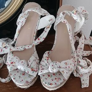 Floral studded  wedge sandals size 7.5